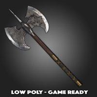 low-poly battle axe model