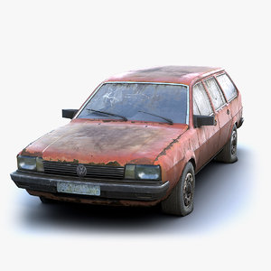 low-poly rusty volkswagen 3D model