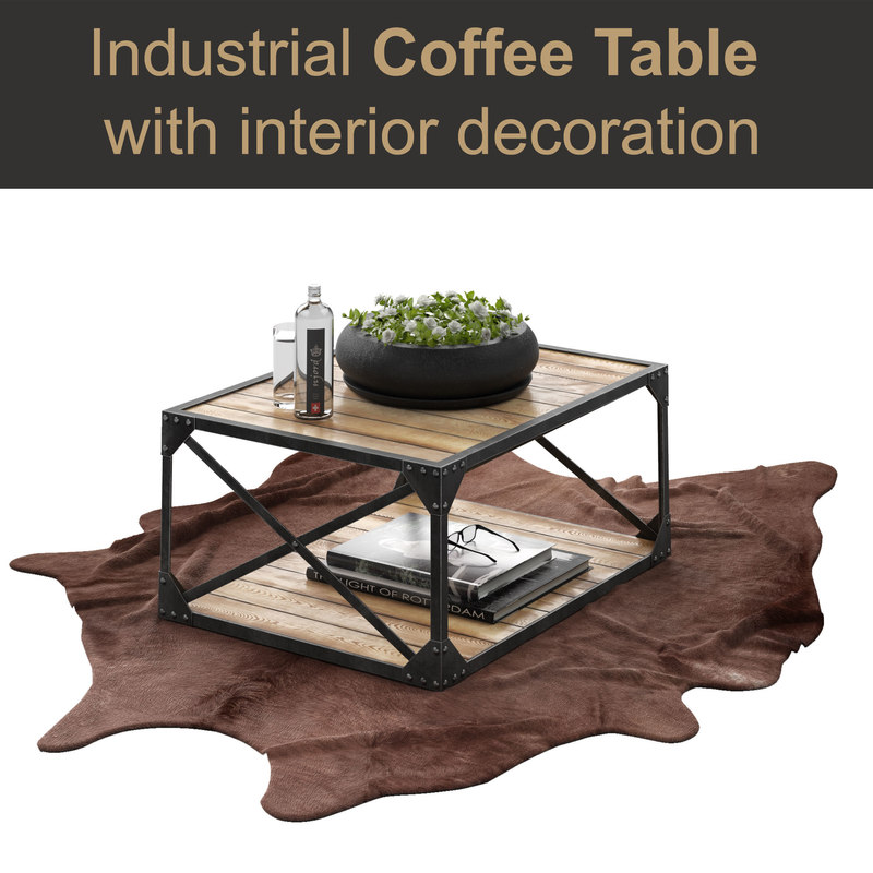 3D Industrial Coffee Table Set Model