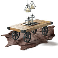 Industrial Coffee Table Cart Set for interior: cow carpet, candles, hanging lamp