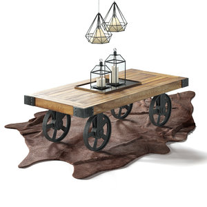 3D industrial coffee table cart