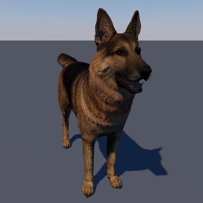 vr ar ready german shepherd 3D model