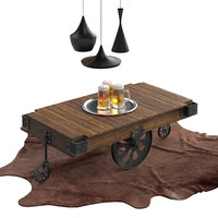 Dark brown industrial Coffee Table Cart Set for interior: brown cow carpet, Tom Dixon pendant lamps, beer glass.