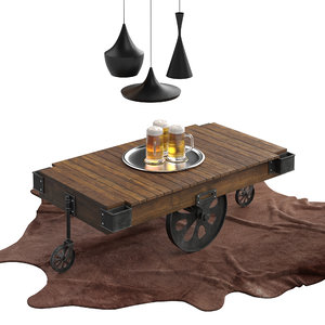 3D model dark brown industrial coffee table