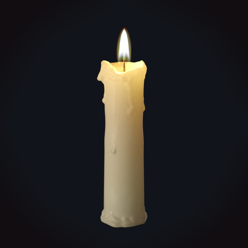 wax candle 8 medieval 3D model