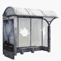 3D model ruin bus stop