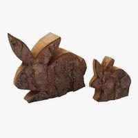 wooden bunny realistic model