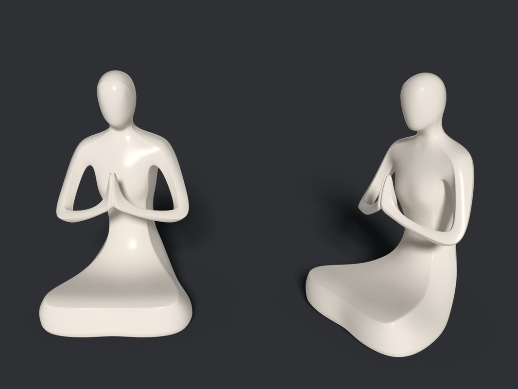 3D abstract meditation statue