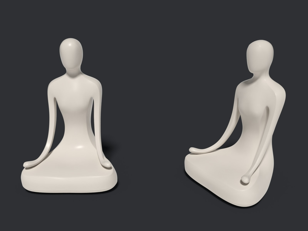 abstract meditation statue 3D