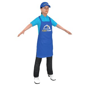3D female fast food worker