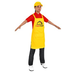 3D model female fast food worker