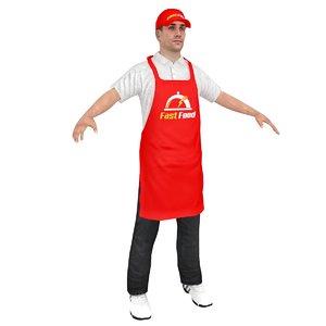 3D fast food worker
