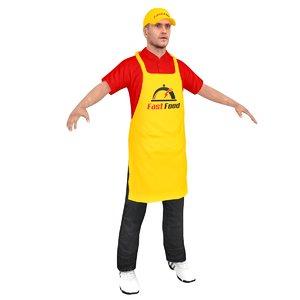 3D fast food worker model