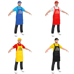 3D model pack fast food worker