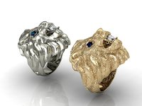 2 men's lion rings