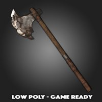 low-poly rusted battle axe 3D model