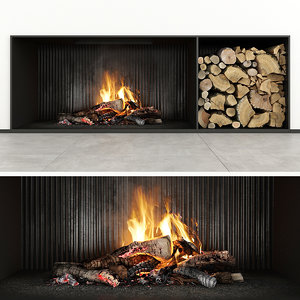 fireplace firewood 3D model