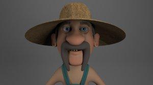 3D cartoon redneck