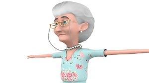 cartoon grandmother 3D