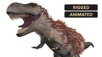 3D t-rex dinosaur feathers