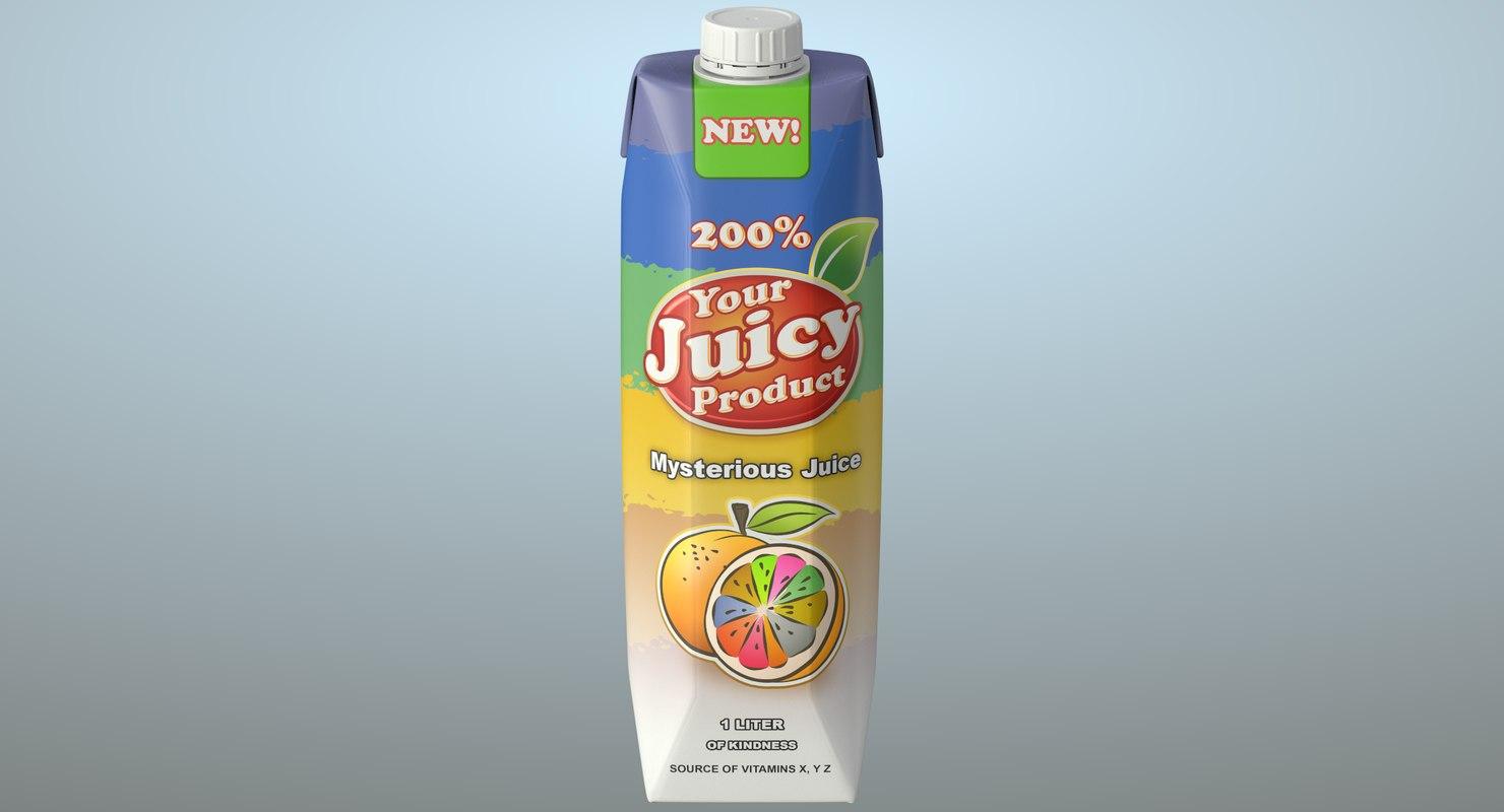 realistic food packaging juice 3D