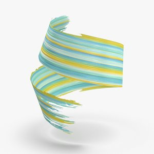 3d-paintbrush-strokes---v1-teal-yellow model