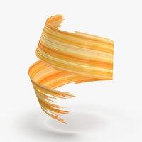 3D Paintbrush Strokes 01 Yellow Orange