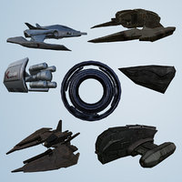 SpaceShip Full Collection Kit lowpoly 3d model
