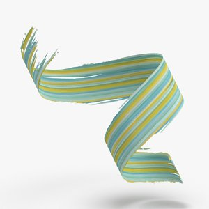 3d-paintbrush-strokes---v3-teal-yellow 3D model