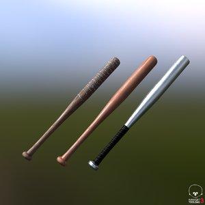 3 baseball bats 3D