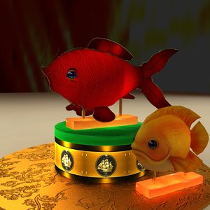 3D chinese red fish lantern model