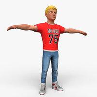 cartoony boy character 3D model