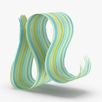 3d-paintbrush-strokes---v7-teal-yellow 3D model