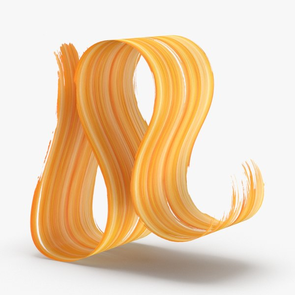 3d-paintbrush-strokes---v7-yellow-orange 3D model