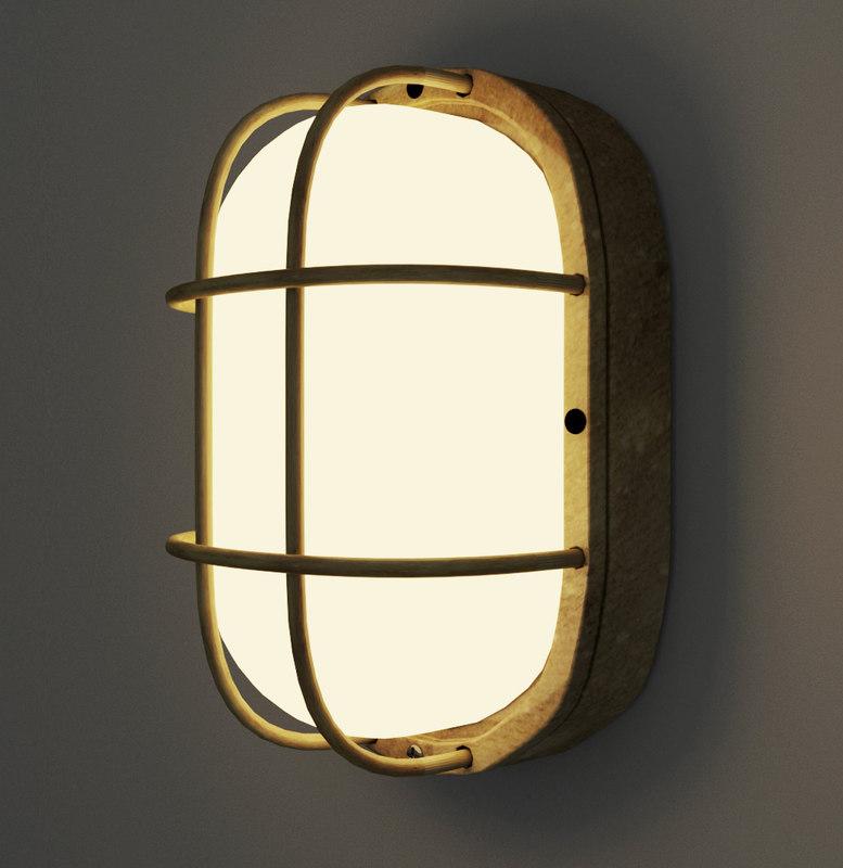 3D industrial wall lamp model