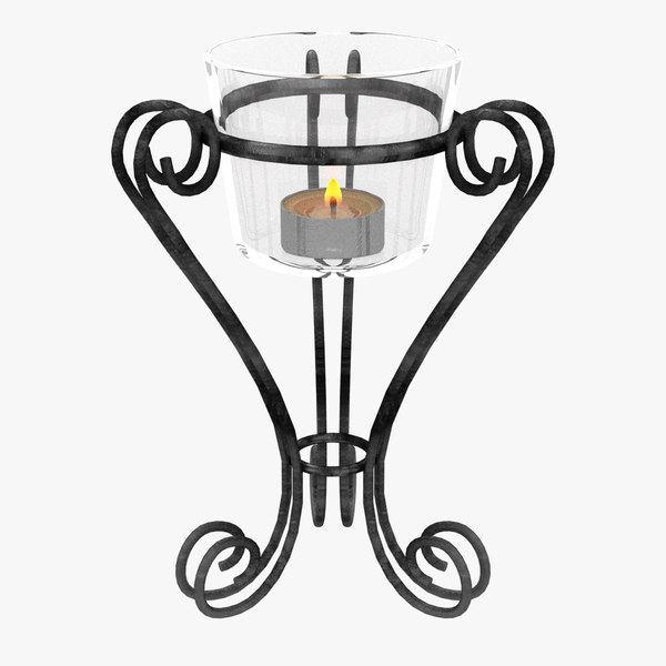 iron glass vase candle 3D model