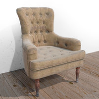 3D model armchair chair old