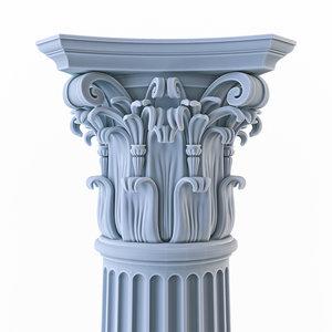 3D column flutes chapiter corinthian order