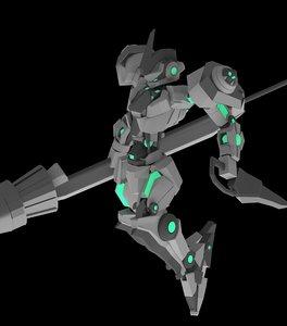 3D mecha gundam model