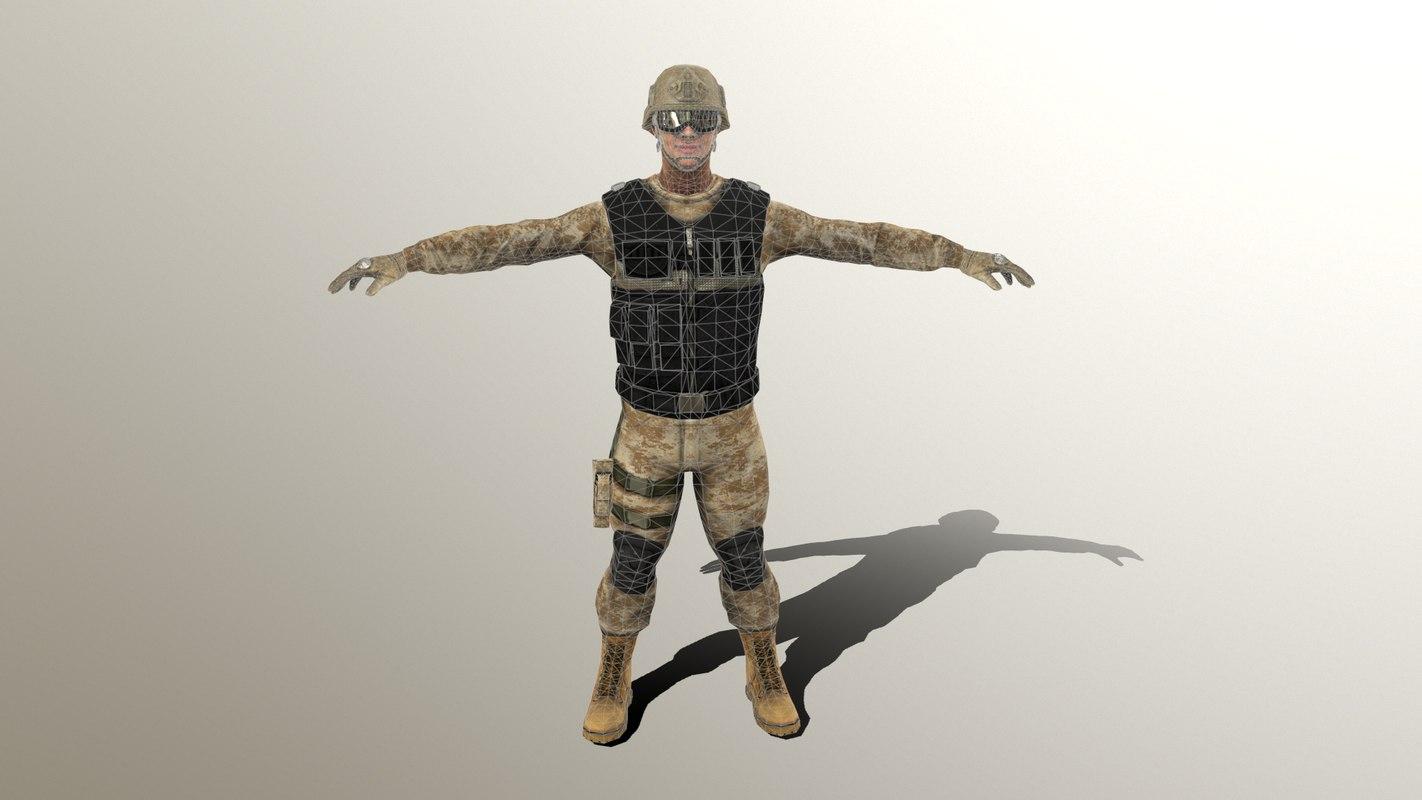 3D male soldier