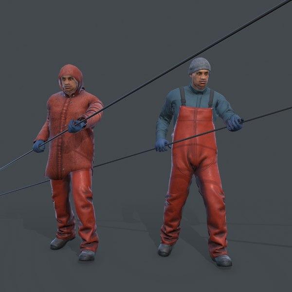 3D model fisherman commercial