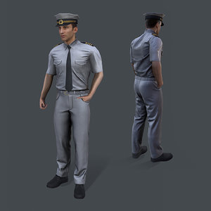 real-time sea captain 3D model