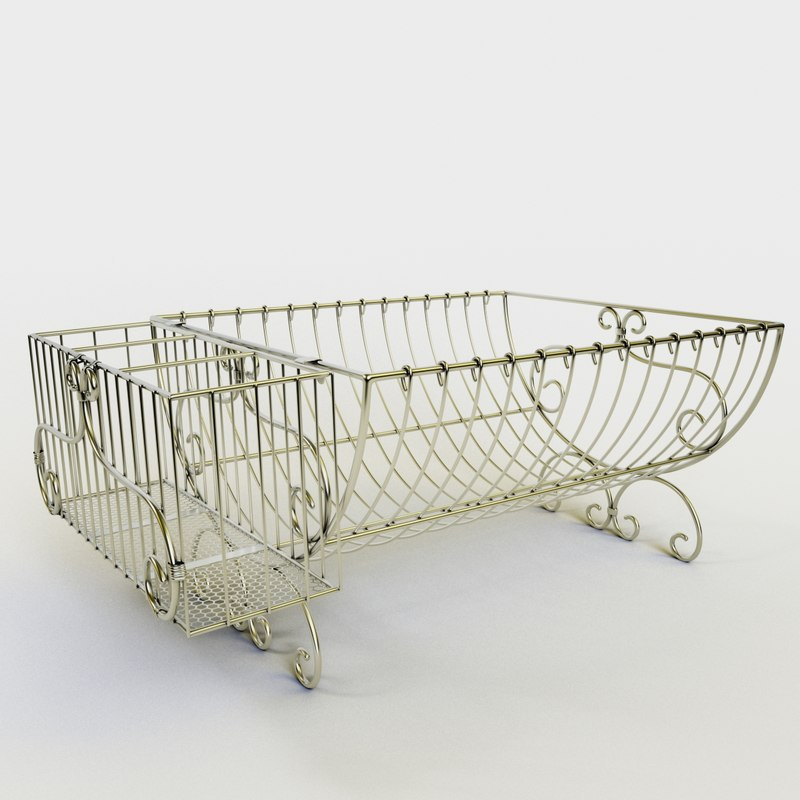 3D model scrolled wire dish rack