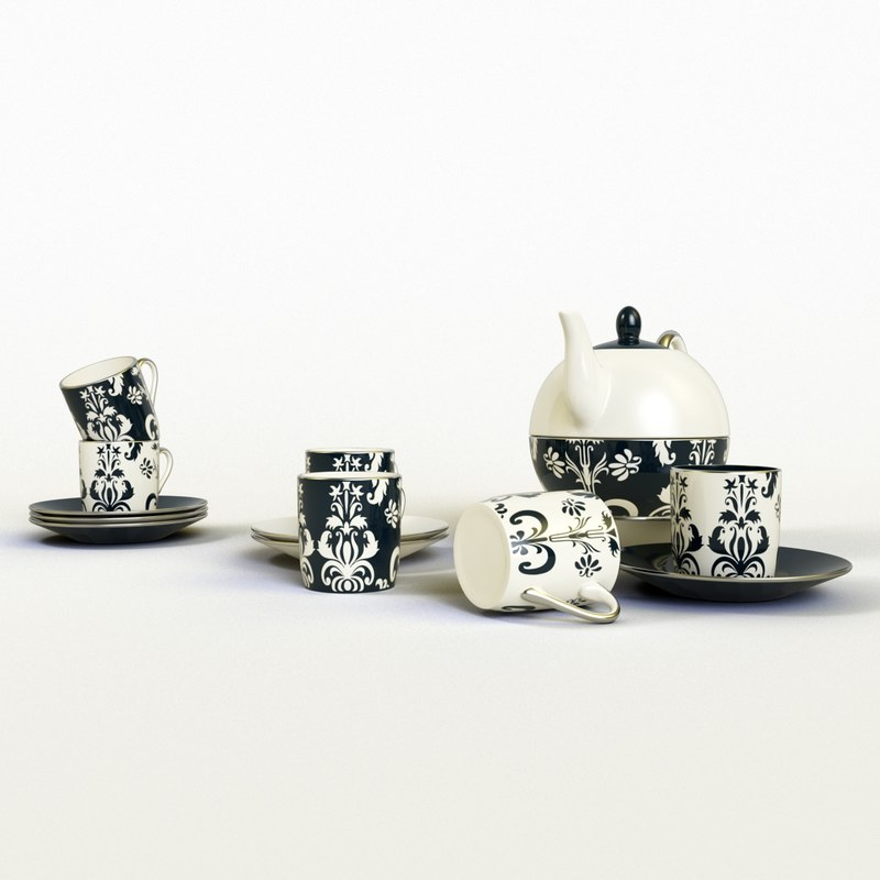 3D nouveau chic tea set model