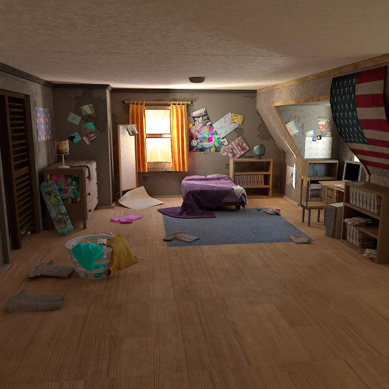 3D toon cartoon room
