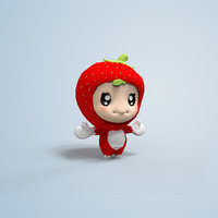 Cute Strawberry Character Chibi lowpoly 3d model AR VR Unity