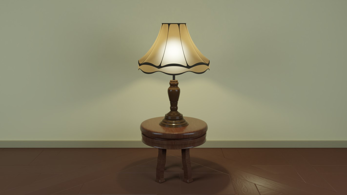 vintage lamp small table 3D model