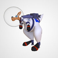 Kangaroo Animated Astronaut Low Poly 3D Model VR AR Game Unity