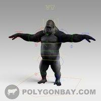 realistic silverback gorilla 3D model