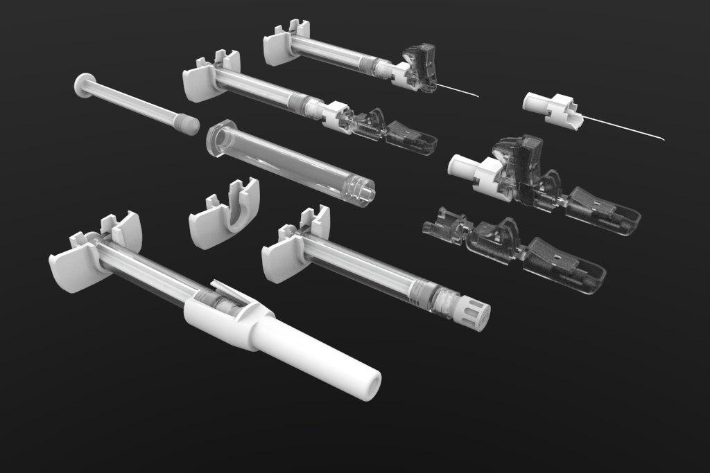 10ml syringe needle parts model